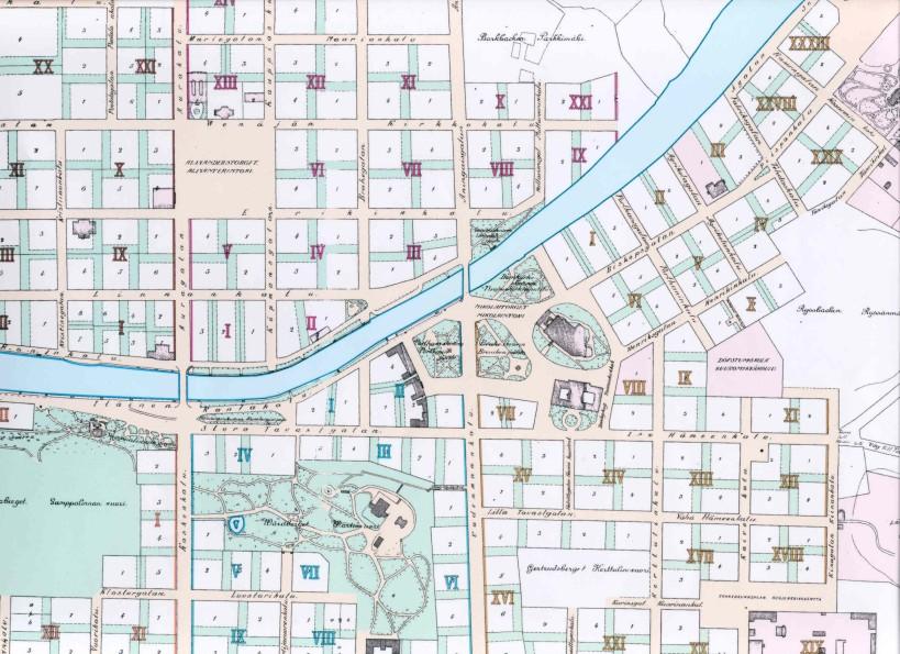 Kartta Turun Asemakaava 1897