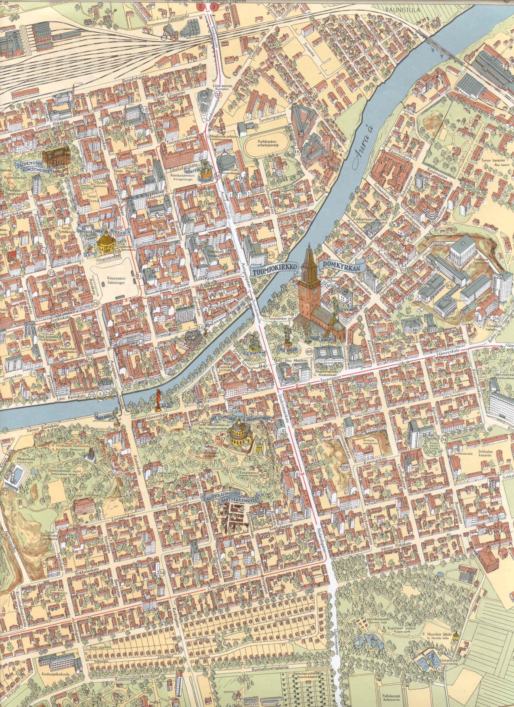 Kartta Turku Nykyisin